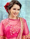 photo of Pink Chiffon Wedding Wear Designer Saree With Poncho Style Blouse
