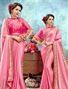 image of Pink Chiffon Wedding Wear Designer Saree With Poncho Style Blouse