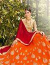 photo of Eid Special Fancy Net Orange Embellished Lehenga