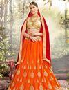 image of Eid Special Fancy Net Orange Embellished Lehenga