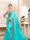 image of Wedding Function Wear Fancy Cyan Saree