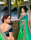 image of Embroidered Wedding Wear Saree In Fancy With Heavy Lace