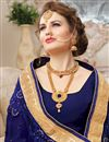 photo of Navy Blue Georgette Embellished Wedding Wear Designer Saree