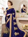 image of Wedding Function Wear Navy Blue Georgette Designer Saree