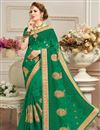 image of Function Wear Fancy Embroidered Saree In Green Georgette