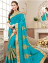image of Function Wear Fancy Embroidered Saree In Sky Blue Georgette