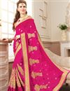 image of Embroidered Rani Color Georgette Function Wear Saree