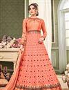 image of Eid Special Fancy Floor Length Net Anarkali Suit In Salmon
