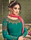 photo of Eid Special Designer Georgette Dark Cyan Floor Length Anarkali Suit