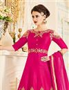 photo of Embroidered Rani Color Georgette Designer Fancy Anarkali Salwar Suit