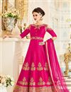 image of Embroidered Rani Color Georgette Designer Fancy Anarkali Salwar Suit