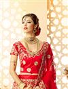 photo of Red Art Silk And Satin Sangeet Wear 3 Piece Lehenga With Embroidery Designs