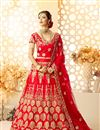 image of Red Art Silk And Satin Sangeet Wear 3 Piece Lehenga With Embroidery Designs
