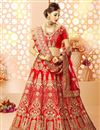image of Embroidery Designs On Red Art Silk And Satin Reception Wear Lehenga Choli