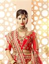 photo of Art Silk And Satin Red Bridal Lehenga Choli With Embroidery Designs