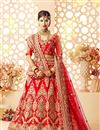 image of Art Silk And Satin Red Bridal Lehenga Choli With Embroidery Designs