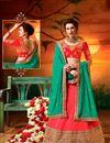 image of Embroidery Designs On Crimson Art Silk Reception Wear Lehenga Choli