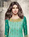 photo of Priyanka Chopra Net Turquoise Color Straight Cut Fancy Salwar Suit