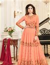 image of Shamita Shetty Salmon Georgette Embroidered Party Wear Anarkali Dress