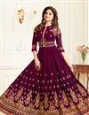 image of Shamita Shetty Georgette Purple Designer Embroidered Anarkali Salwar Suit