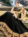 photo of Chiffon Designer 3 Piece Lehenga Choli In Black With Embroidery Designs