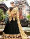 image of Chiffon Designer 3 Piece Lehenga Choli In Black With Embroidery Designs