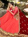 photo of Chiffon Designer 3 Piece Lehenga Choli In salmon Color With Embroidery Designs