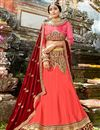image of Chiffon Designer 3 Piece Lehenga Choli In salmon Color With Embroidery Designs