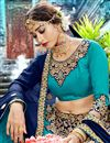 photo of Turquoise Color Chiffon Fabric Occasion Wear Chaniya Choli With Embroidery Work