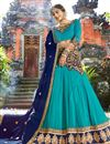 image of Turquoise Color Chiffon Fabric Occasion Wear Chaniya Choli With Embroidery Work