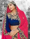 photo of Embroidery Designs On Navy Blue Chiffon Fabric Festive Wear Chaniya Choli