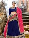 image of Embroidery Designs On Navy Blue Chiffon Fabric Festive Wear Chaniya Choli