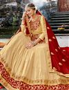 photo of Chiffon Fabric Chikoo Color Party Wear 3 Piece Lehenga With Embroidery Designs