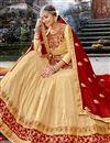 photo of Embroidery Designs On Chikoo Color Chiffon Fabric Festive Wear Chaniya Choli