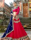 image of Crimson Color Embroidery Designs On Chiffon Fabric Function Wear Chaniya Choli