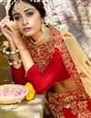 photo of Chiffon Fabric Party Wear 3 Piece Lehenga With Embroidery Designs In Red