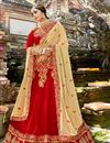 image of Chiffon Fabric Party Wear 3 Piece Lehenga With Embroidery Designs In Red
