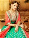 photo of Turquoise Color Party Wear Art Silk Embroidered Designer Lehenga