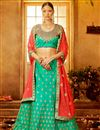 image of Turquoise Color Party Wear Art Silk Embroidered Designer Lehenga