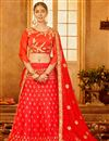 image of Sangeet Wear Art Silk Embellished Lehenga Choli In Red