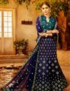 image of Art Silk Embroidered Festive Wear Lehenga Choli In Navy Blue
