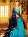 image of Art Silk Occasion Embellished Sky Blue Lehenga Choli