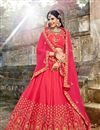 image of Weddding Wear Art Silk Embroidered Designer Lehenga Choli In Crimson Color