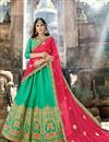 image of Wedding Special Embellished Cyan Reception Wear Fancy Lehenga Choli In Art Silk