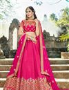 image of Wedding Special Sangeet Wear Art Silk Rani Color Fancy 3 Piece Lehenga With Embroidery