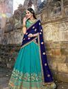 image of Weddding Wear Turquoise Embroidered Designer Lehenga Choli In Art Silk