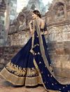 photo of Weddding Wear Navy Blue Embroidered Designer Lehenga Choli In Art Silk