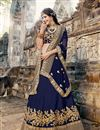 image of Weddding Wear Navy Blue Embroidered Designer Lehenga Choli In Art Silk