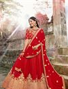image of Attractive Art Silk Designer Embroidered Maroon Lehenga Choli