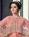 photo of Net Fabric Designer Embroidered Salmon Color Lehenga Choli